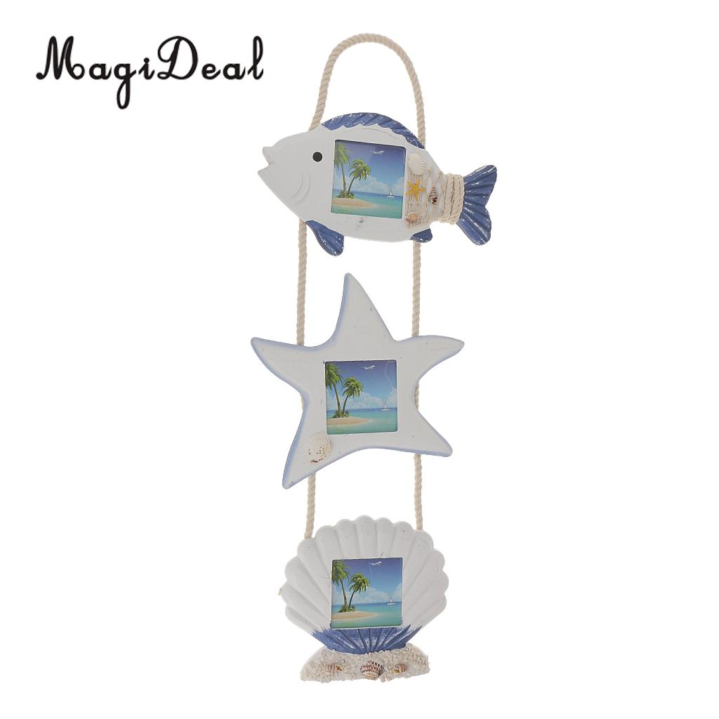 MagiDeal Wood photo frame Door Wall Hanging Multi maritime object ...
