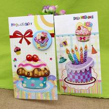 16pcs /set Charm Birthday Cards Happy Gift Greeting Cartoon Cake Print Paper Card with Envelope