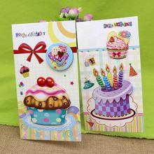 16pcs /set Charm Birthday Cards Happy Birthday Gift Greeting Cards Cartoon Birthday Cake Gift Print Paper Card with Envelope цена
