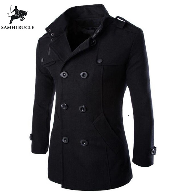 Medium Long   Trench   Coat Men Overcoat Winter Jacket Men 2018 Windbreaker Thick Solid Black   Trench   Coat Men English Style Costume