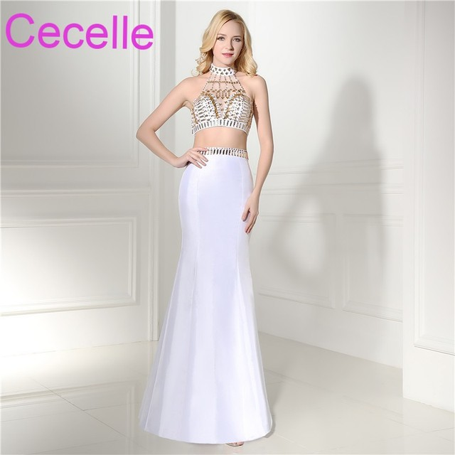 White Two Pieces Mermaid Prom Dresses 2018 Halter Open Back Floor ...