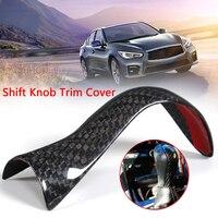High quality Car Styling For Infiniti 2015 2017 Q50 Q50S Direct Add on Carbon Fiber Shift Knob Trim Cover Car sticker
