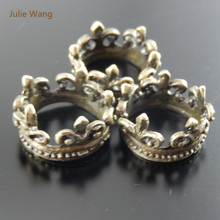 Julie Wang 5PCS Alloy Retro Bronze Crown Pendant Charms Handmade Hanging Ring Circle Tops Suspension