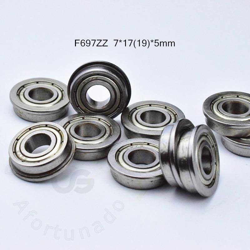 7x17x5 mm F697zz 10 PCS Flange Metal Double Shielded Ball Bearing F697z