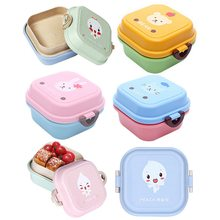 Urijk Kids Cute Portable Cartoon Lunch Box Food Fruit Container Storage Box Picnic Plastic Double Layer Bento Box Children Gift(China)
