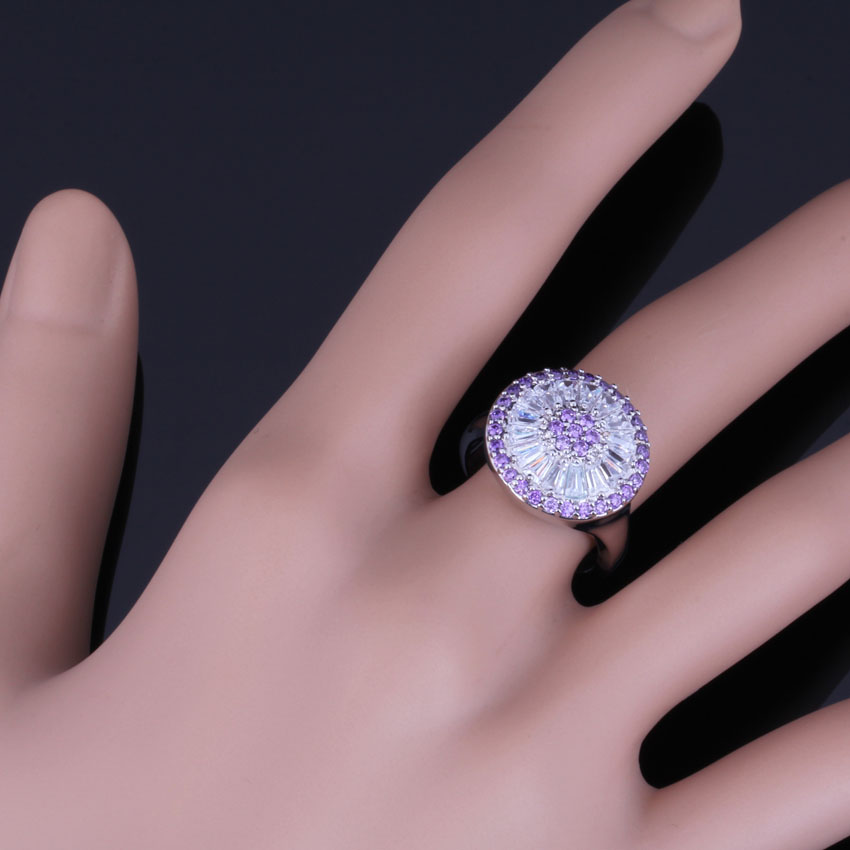 Fancy Round Purple Cubic Zirconia White CZ 925 Sterling Silver Ring For Women V0480 in Rings from Jewelry Accessories