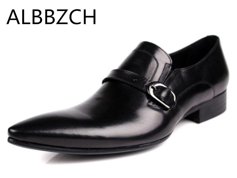 Pointed toe slip on fashin buckle mens genuine leather wedding dress shoes men high quality office career work shoes size 37 44Pointed toe slip on fashin buckle mens genuine leather wedding dress shoes men high quality office career work shoes size 37 44