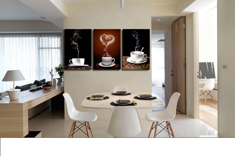 SVITY Coffee Cup Wall Canvas Painting Coffee 3 Panel Restaurant - Decoración del hogar - foto 2