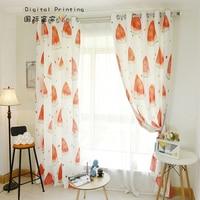Custom Made 2x Grommet Window Drapery Curtain Nursery Kids Children Room Window Dressing Tulle 200x260cm Watermelon Orange White
