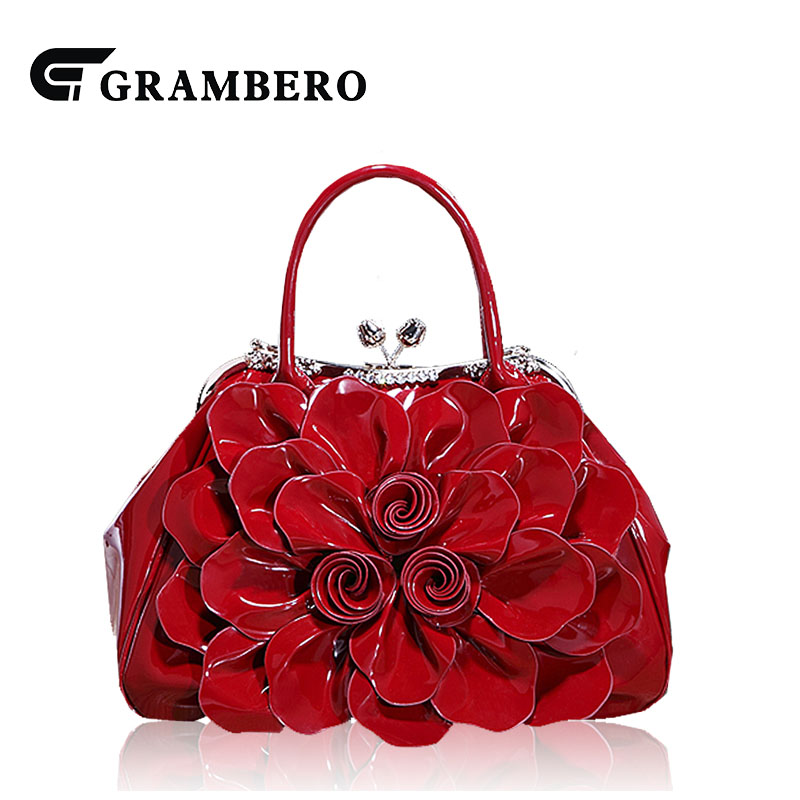 New Style Fashion Noble Women Handbag PU Leather Patent Leather Rhinestone Relief Flower Top-handle Bag Banquet Evening Bag Gift aliwilliam bag new patent leather