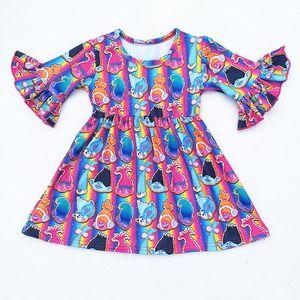 Image 2 - 4 עיצובים בנות מסיבת שמלת ילדים של בוטיק בגדי בובת הדפסי בנות שמלת תינוק שמלות Milksilk בתפזורת wholesales 2019