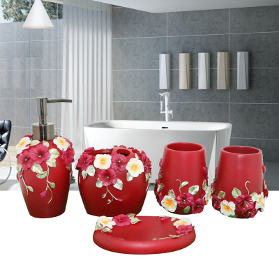 China Resin Bathroom Set Of Five Pieces Wash Dental Kit Accessories Home Decorative Wedding Gifts In Sets