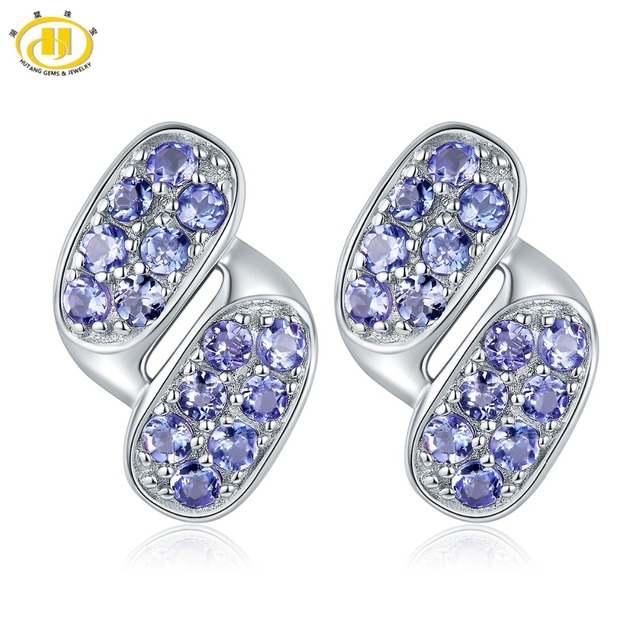 Hutang Gemstone Jewelry Solid 925 Sterling Silver Natural Tanzanite Earrings Fine Fashion For Birthday Gift