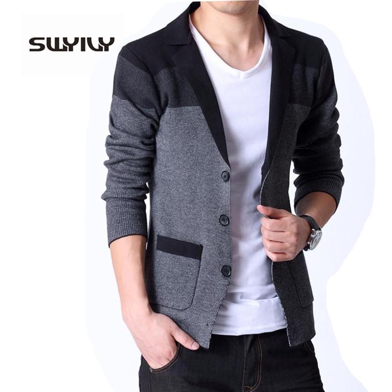 Spring New Men s Knitted Cardigan Male Korean Coat Slim Sweater Blazer Masculino