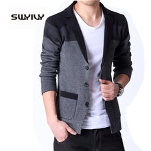 Spring New Men's Knitted Cardigan Male Korean Coat Slim Sweater Blazer Masculino