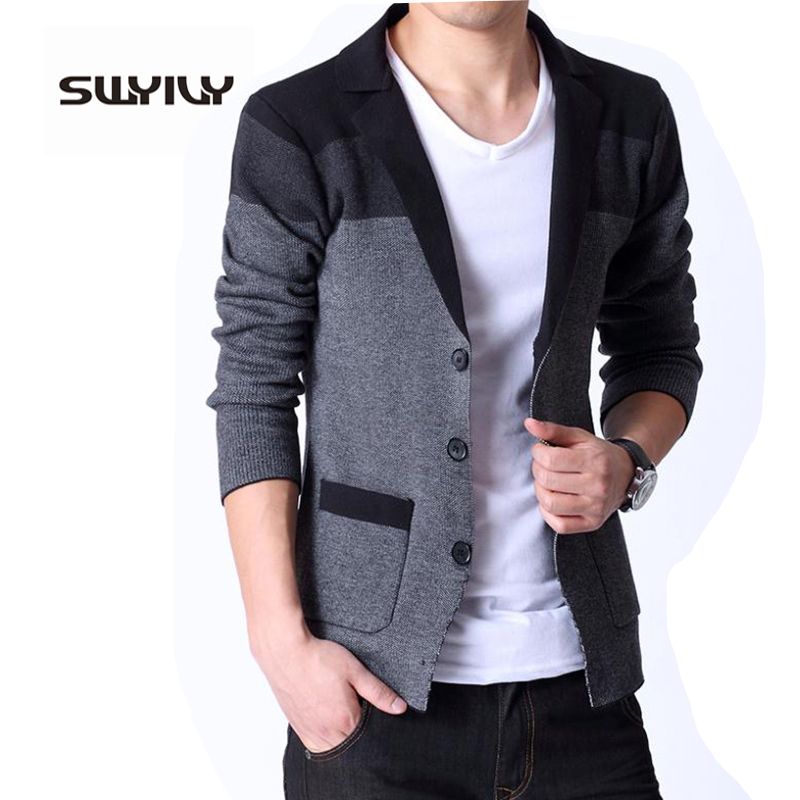 Spring New Mens Knitted Cardigan Male Korean Coat Slim Sweater Blazer Masculino ...