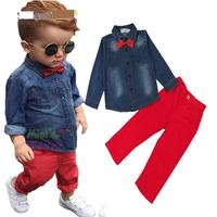 Kids Boys Clothes 2pcs Spring Leisure Children Solid Single Breasted Jackets Long Red Pants For 3