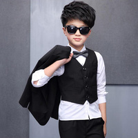 2018 boys suits (suit+pant+vest+shirt+tie) for weddings Party Suits Blazer Costume Garcon Formal School wears 5pieces set