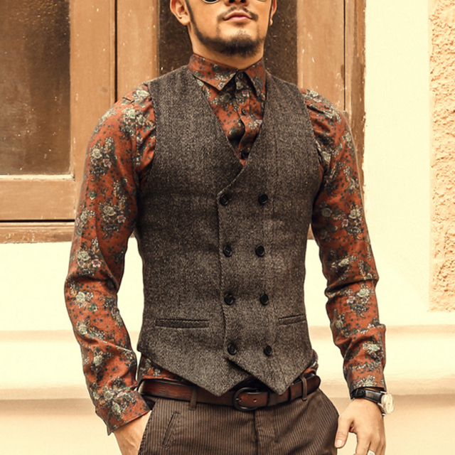 1f1bf24b4b8 US $19.99 |FU BEI Men Double Breasted Vest Dress Suit Vest Formal Gray Vest  Suit Vest Suit Slim Jacket Tops Plus Size-in Vests from Men's Clothing on  ...