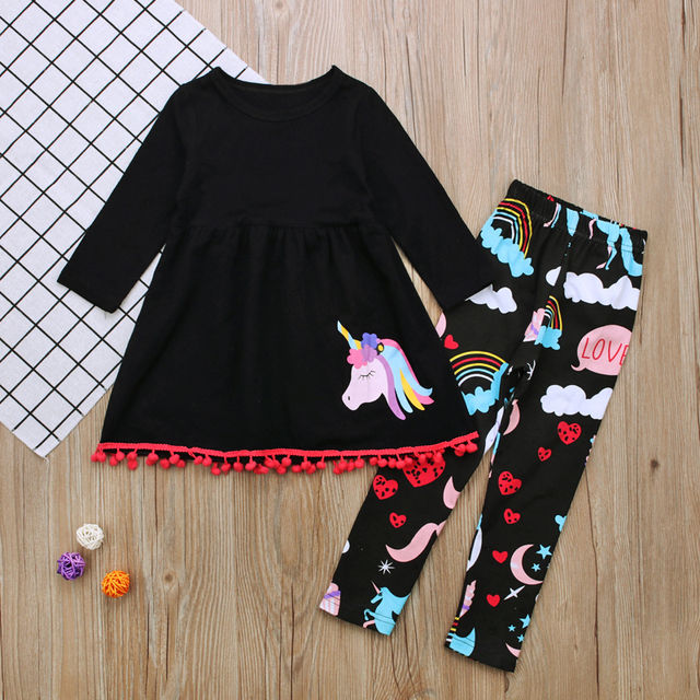 New Design 2018 Autumn Winter Children Christmas Long Sleeve Unicorn Printed  Skirt Trousers Suit 2PCS Baby d4aff51f1