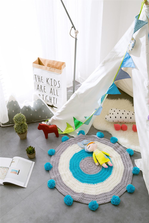 INS Children Premises Mat Hand-woven Mats Baby Play Mats Knitted Blanket Handmade Ball Children Premises Mat Crawling Mat (3)