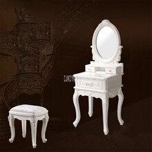 Европейский стиль твердой древесины спальня макияж комод мини современный простой туалетный шкаф зеркало стол табурет набор Свадебная мебель