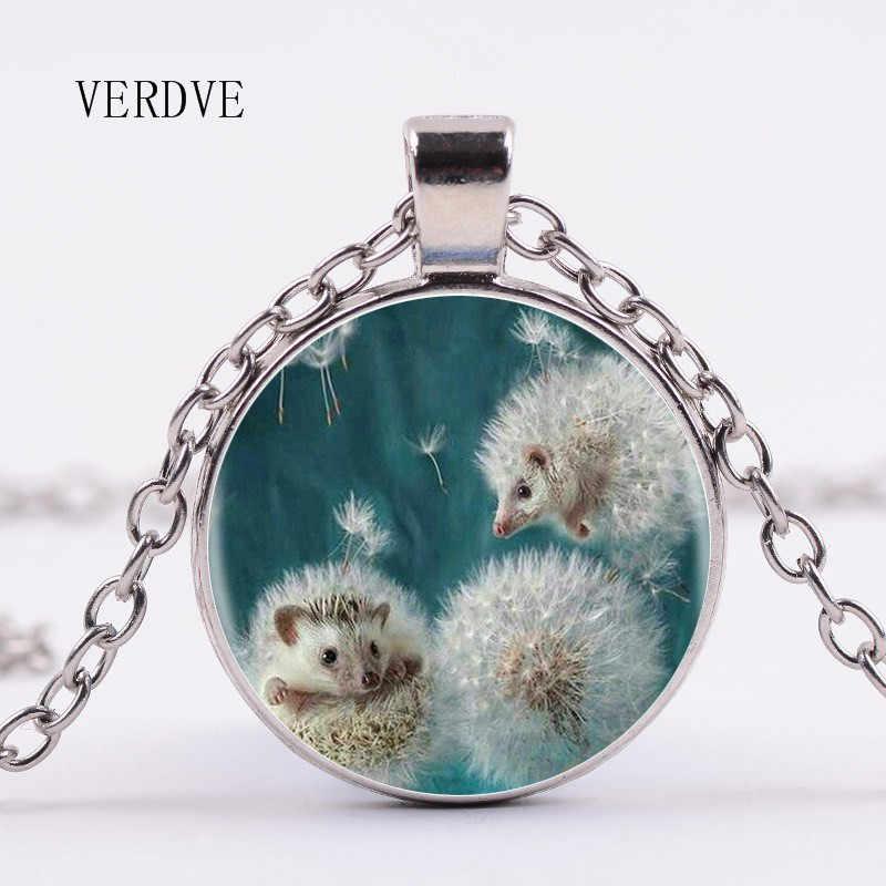 3 màu 2018 new dandelion và hedgehog mặt dây chuyền bạc dài vòng cổ Trung Quốc thủy tinh làm bằng tay mặt dây chuyền vòng cổ retro