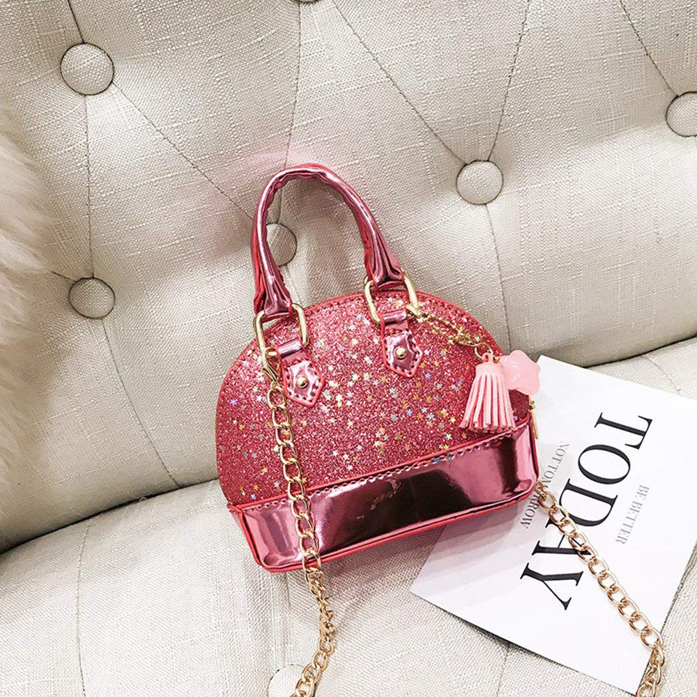 New Fashion Hotsale Casual Little Girls' Sequins Handbags Princess Crossbody Bag Mini Satchel Gifts For Girls Toddler Kids (Pink