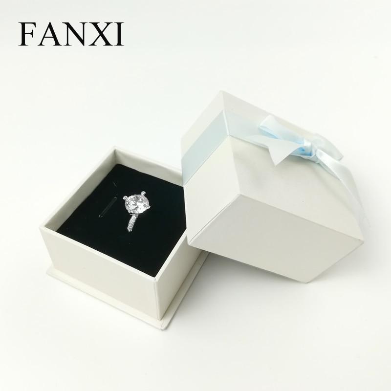 FANXI 12 PCS/LOT White Jewelry Gift Paper Box with Bowknot Ribbon for Packing Ring Bracelet Pendant Earrings Box 7*7*4.5cm