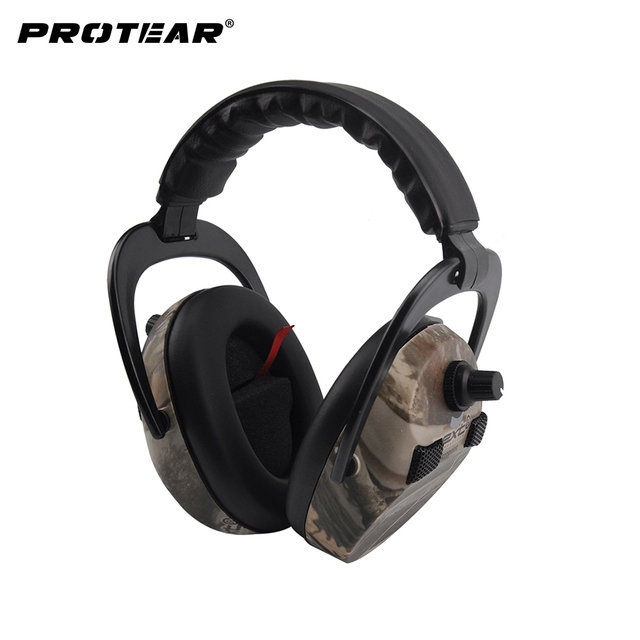 Protear อิเล็กทรอนิกส์ป้องกันหูการล่าสัตว์หู Muff พิมพ์ยุทธวิธีหูฟัง Hearing หูฟังป้องกันหูฟังสำหรับล่าสัตว์