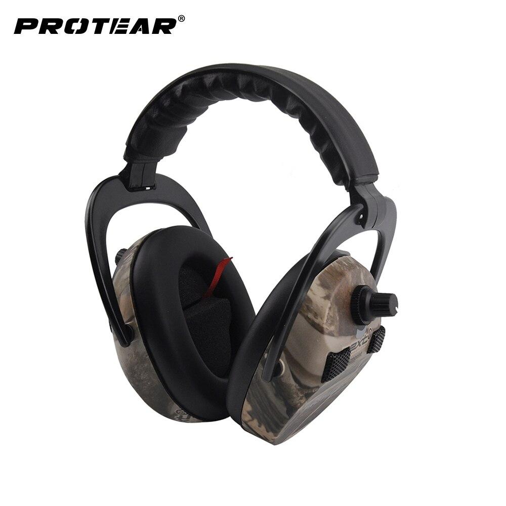 Protear Proteção de Orelha Eletrônico Impressão Tactical Tiro Caça Muff Da Orelha fone de Ouvido Protetores de Ouvido Audição Muffs Da Orelha para a Caça