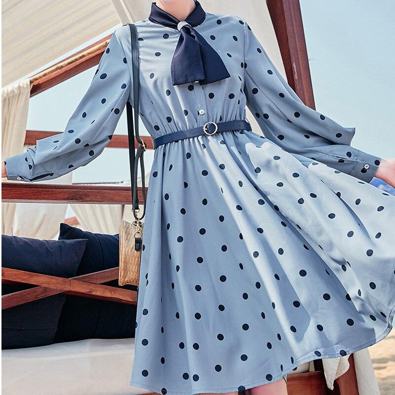 Femmes vague point robe offre spéciale à manches longues patchwork a-ligne courte robe décontracté femmes printemps été robes - 5