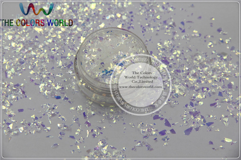 TCR6321  Iridescent  white Colors Random Cut Glitter Spangles  Mylar for nail art  and DIY decoration