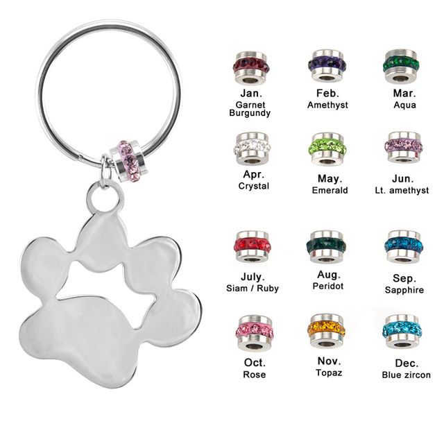 Simsimi Dog paw keychain Birth stone puppy pet collar lucky stones  Stainless steel high quality 12pcs 7e0cd43e1311
