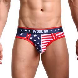 Мужское нижнее белье с рисунком звезды в полоску с пятиконечной звездой трусы с принтом панталоны сексуальные шорты трусики