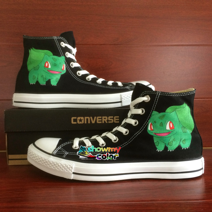 Converse Men Womens Skateboarding Shoes Hand Painted Anime Shoes Pokemon Bulbasaur Pocket Monster Black Canvas Sneakers