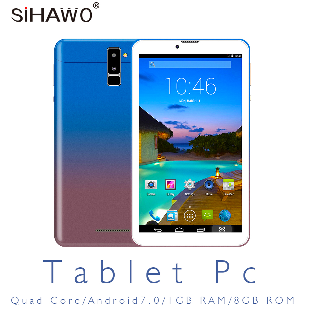 Ultra Slim Android 7.0 3G Dual SIM Phone Call Tablet PC MT8321 A7 Quad Core 1GB RAM 8GB ROM 7 Inch 1024 *600 GPS OTG FM Tablets