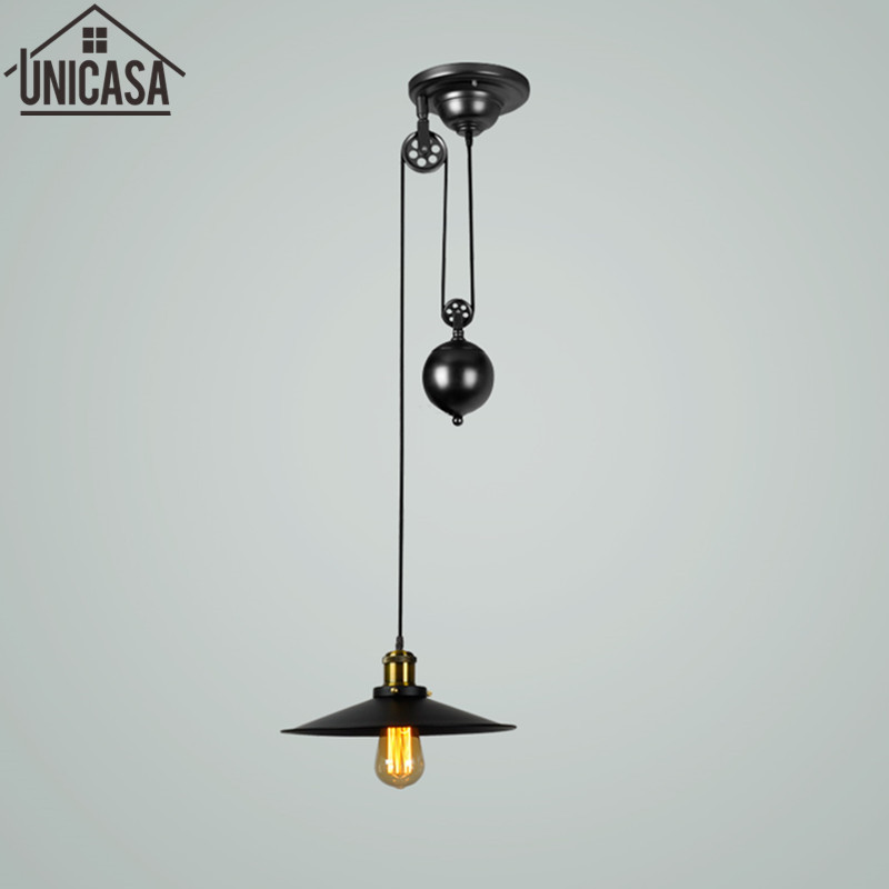 Loft ceiling lights vintage chandelier Iron Pulley Bar Lamp Home Decoration E27 Edison Light Fixtures Kitchen vintage lighting 10 lights creative fairy vintage edison lamp shade multiple adjustable diy ceiling spider pendent lighting chandelier 10 ligh