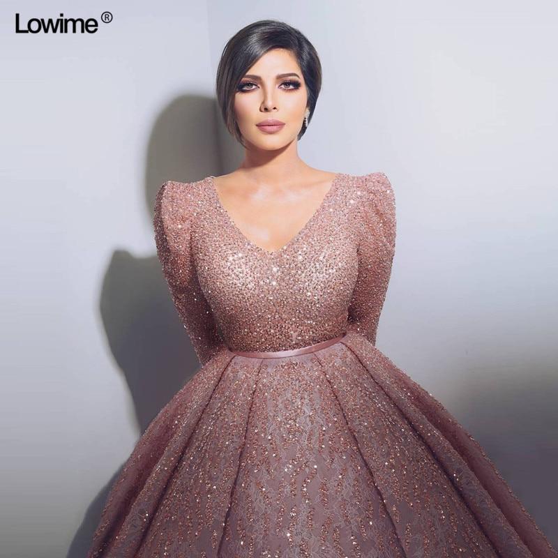Alta calidad manga larga Deep v-cuello mujeres musulmanes Dubai turco árabe vestidos de noche Abendkleider 2018