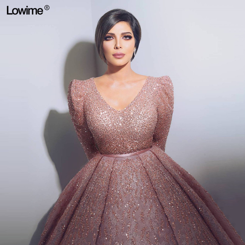 High Quality Long Sleeves Deep V-neck Muslim Women   Dresses   Dubai Turkish Arabic   Evening     Dresses   Abendkleider 2018