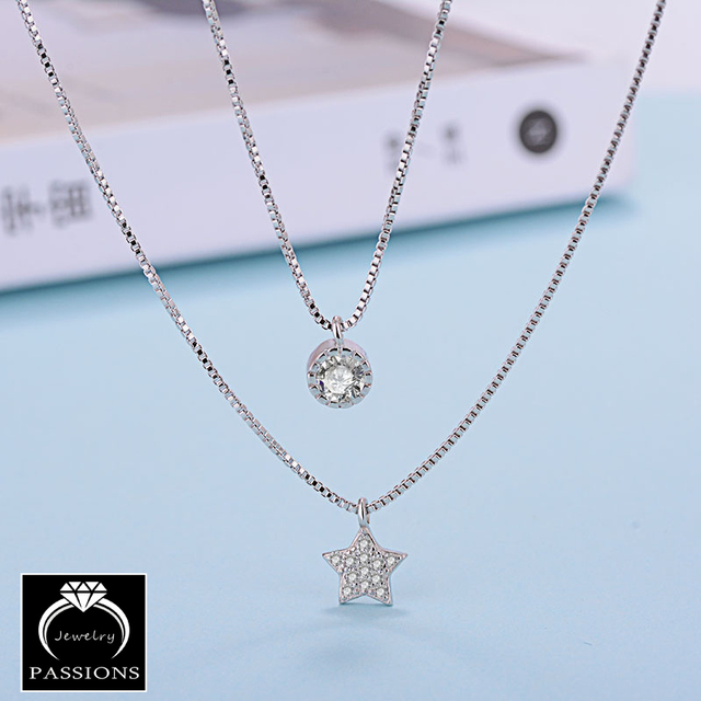 Sterling Silver Double Layers Necklace With Star Pendent Collarbone Necklace Chain