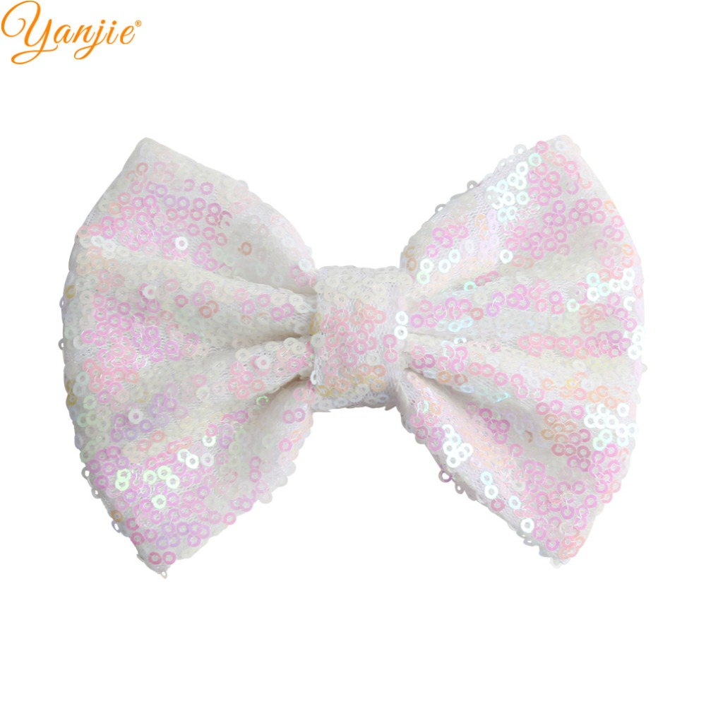 """Image 5 - 30pcs/lot 5"""" Knot Sequin Hair Bow WITHOUT Hair Clips  Girls Solid Glitter Bow For Kids DIY Headband Hair Bands Hair Accessories-in Hair Accessories from Mother & Kids"""