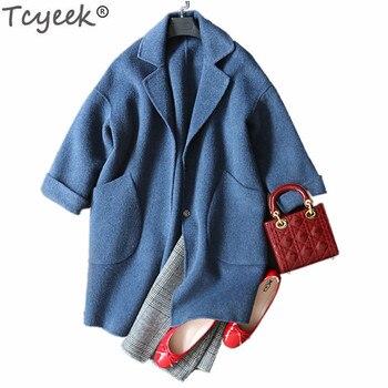 Tcyeek 2019 Fashion Women's Jackets Spring-autumn Double-sided Wool Coat Female Elegant Outerwear Overcoat Long Jacket LWL509