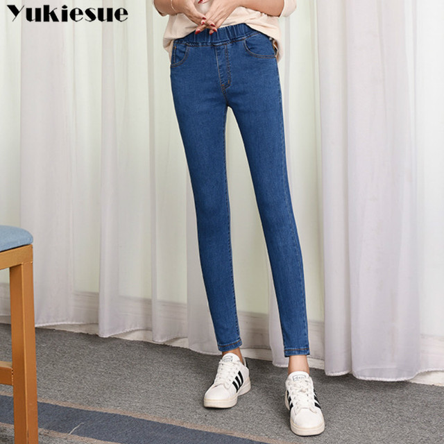 2019 Spring Summer Plus Size 5xl high Elastic Waist Stretch Ankle length push up mom Jeans for Women Skinny Pants Capris Jeans 3