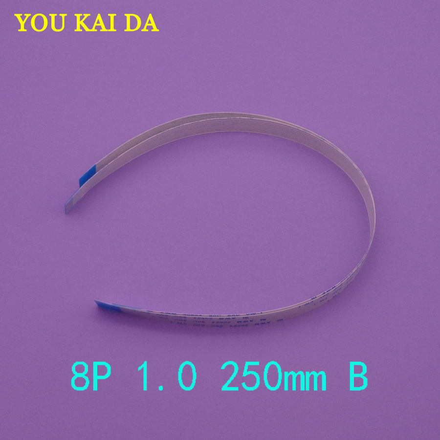 2pcs <font><b>AWM</b></font> <font><b>20624</b></font> <font><b>80C</b></font> 60V VW-1 FFC FPC flat flexible cable 1.0mm pitch 8pin Length 250mm Width 9mm Forward Flex cable Type B image