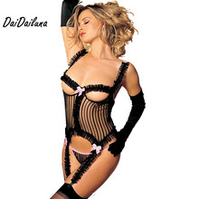 DaiDaiLuna Sexy Lingerie Women Hot Lace Sexy Corset Chest Open Sexy Underwear Back Ribbon Tie  Babydolls Garter With Underpants