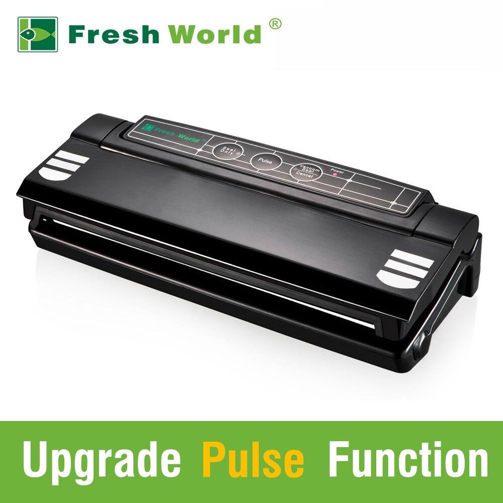 Scelleurs de nourriture sous vide automatique avec sacs gratuits fonction d'impulsion noir ménage meilleur sac sous vide scelleur Machine d'emballage 220v 110v