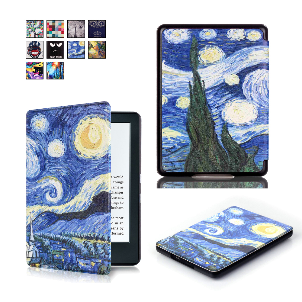 Fashion Print Flip Leather Case Cover for New Kindle 2016 8th Generation Fundas for Amazon Kindle