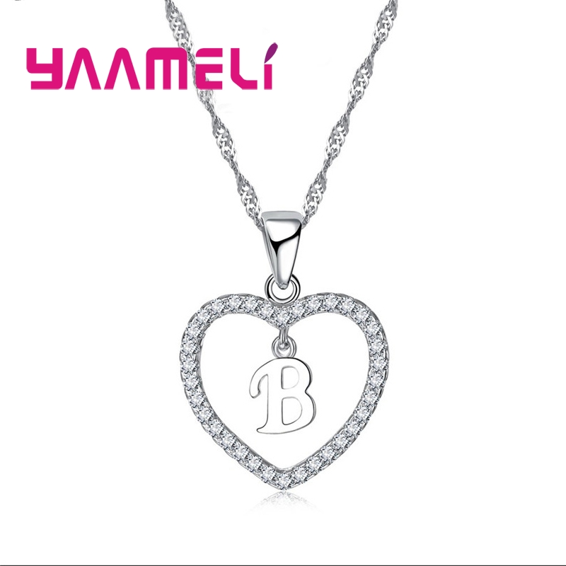 Romantic Heart Design 26 Letters Necklace Pendant Super Shiny Cubic Zirconia 925 Sterling Silver For Women Girls Gift 1