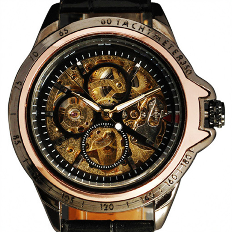 2016 New Winner Fashion Men Hollow Skeleton Outdoor Clock Leather Famous Design Army Mechanical Automatic Self